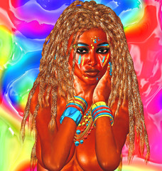 African beauty on abstract background with blond braids