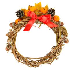 Beautiful Thanksgiving wreath, on white wooden background