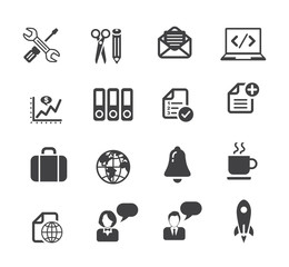 Business and media icon set, basic series