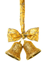 Golden christmas bells with ribbon