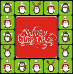 Christmas background with cute penguins