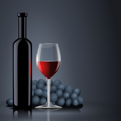 Bottle red wine with glass and grapes
