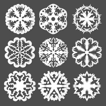 White Paper vector snowflakes