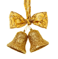 Golden christmas bells with bow