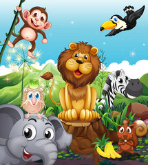 Wall Mural - A lion above the stump surrounded with playful animals