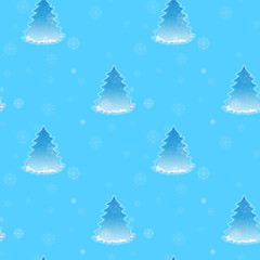 A blue seamless design for christmas with christmas trees