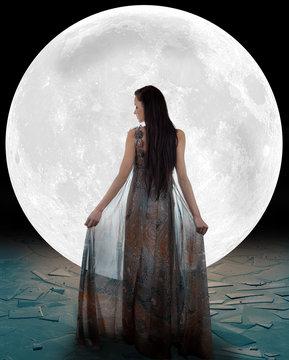 Ice princess walking into the moon