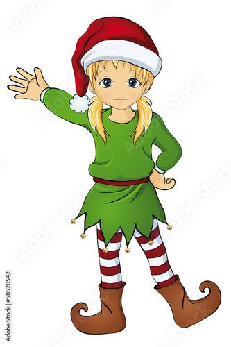 """""""blonder weihnachtswichtel mit zöpfen"""" stockfotos und"""