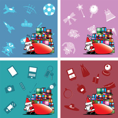 Santa carry heavy gift box bag vector