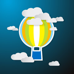 Paper Hot Air Balloon on Sky with Clouds