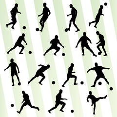 Soccer player silhouette vector background set