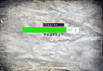 Loading protest draw on a grunge background