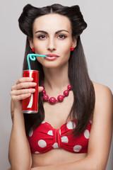 close-up of drinking soda beautiful model