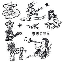 Doodle Set Of Addiction And Destiny Elements