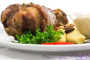 grilled knuckle of pork with potato dumplings