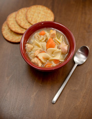 classic bowl of chicken noodle soup