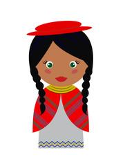 Vector Illustration of Bolivian Girl