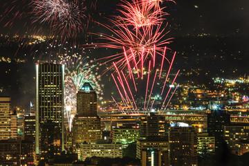 Wall Mural - Portland Oregon, USA Fireworks.