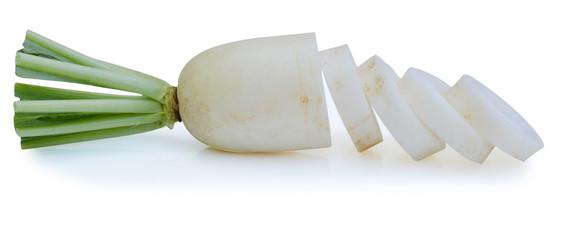 Close up Radishes isolated on white background
