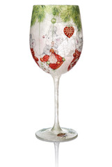 Christmas Decoupage On The Wine Glass