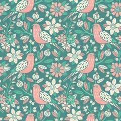 Wall Mural - Seamless floral pattern