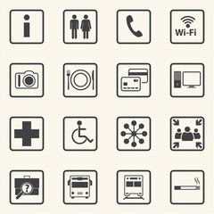 Public icons set with texture background. Vector