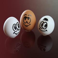 three eggs smiley face