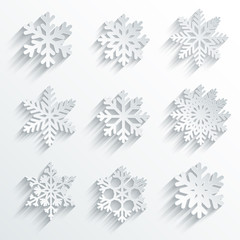 Snowflakes shape vector icon set. Creative snow design