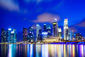 Urban cityscape in Singapore at night