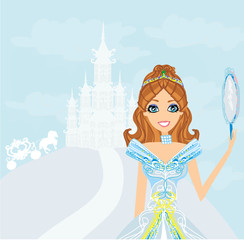 beautiful princess with mirror in her hands