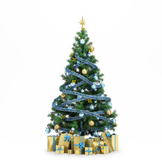 Isolated green Christmas tree with gold stars and presenrs