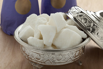 Traditional Moroccan bowl with sugar