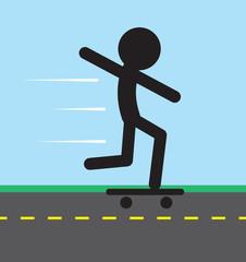 Skateboarding figure on the road