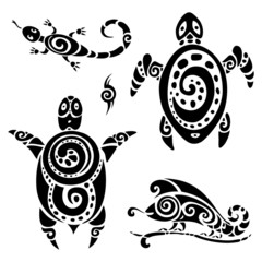 Turtle. Tribal tattoo set.