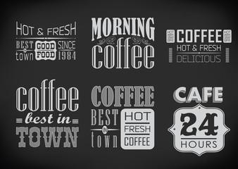 set of coffee labels on chalkboard