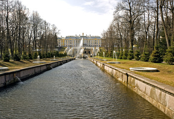 the Grand Palace and Grand Cascade in Peterhof, Russia