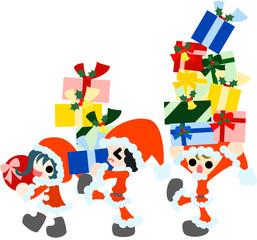 サンタクロースの格好をした子供たちが、たくさんのクリスマスプレゼントを運んでいる。