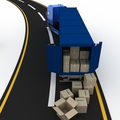 truck with boxes. 3d illustration