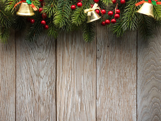 Christmas fir tree on wood texture. background old panels