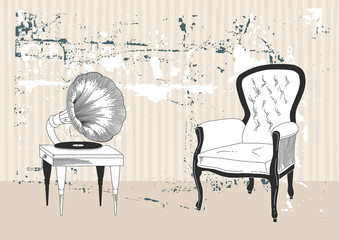 Gramophone and Armchair