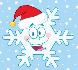 Smiling Snowflake Cartoon Mascot Character With Santa Hat