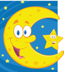 Smiling Crescent Moon And Little Star Cartoon Characters
