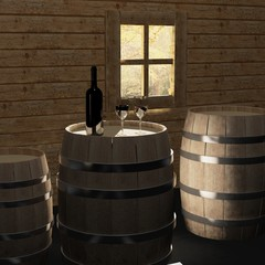 Traditional wine tasting in a wine cellar