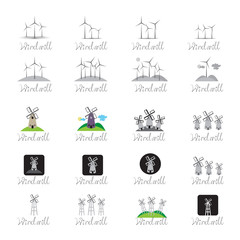 Windmill Icons Set - Isolated On White Background
