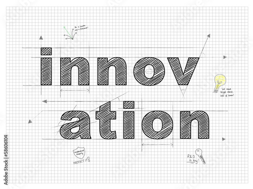 Innovation Technical Drawing Text Sketch Ideas Creativity Stock