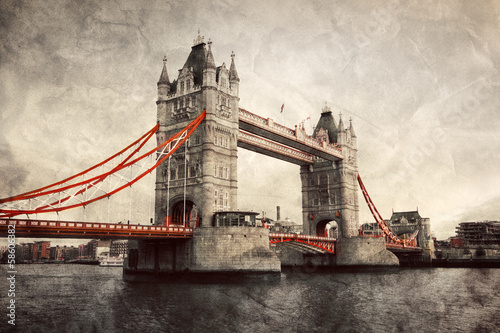 Fotomurales Tower Bridge in London, England, the UK. Vintage style