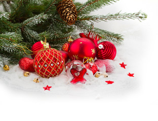 evergreen tree and red christmas decorations