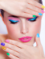 Autocollant pour porte Beauty rainbow colors