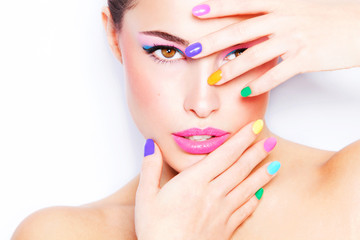 Autocollant pour porte Beauty colorful makeup