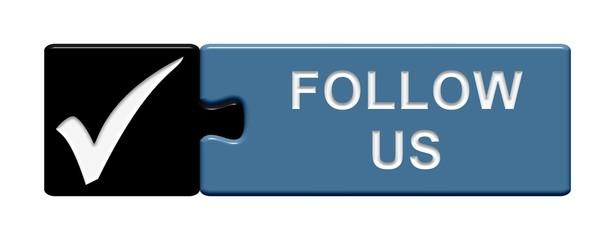 Puzzle-Button schwarz blau: Follow us